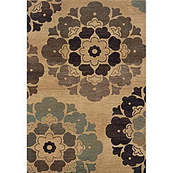 Messina Beige/Gold Transitional Area Rug (5'3 x 7'6)
