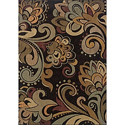 Messina Black/Green Contemporary Area Rug (5'3 x 7'6)
