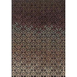 Messina Black/ Tan Transitional Area Rug (6'7 x 9'6)