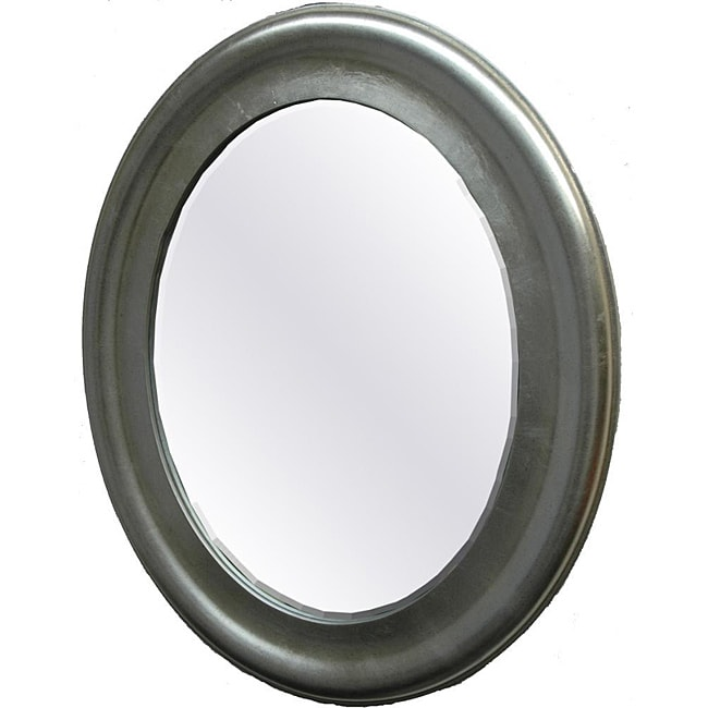 Oval Framed Mirror in Speckled Antique Silver