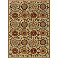 Berkley Beige/ Green Floral Area Rug (5'3 x 7'6)