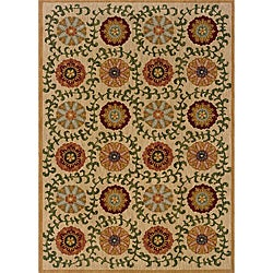 Berkley Beige/Green Floral Transitional Area Rug (3'10 x 5'5)