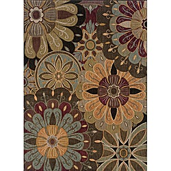 Messina Black/ Brown Transitional Area Rug (6'7 x 9'6)