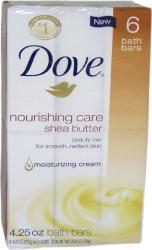 Dove 4.25-ounce Nourishing Care Shea Butter Moisturizing Cream Beauty Bar Soap (Pack of 6)