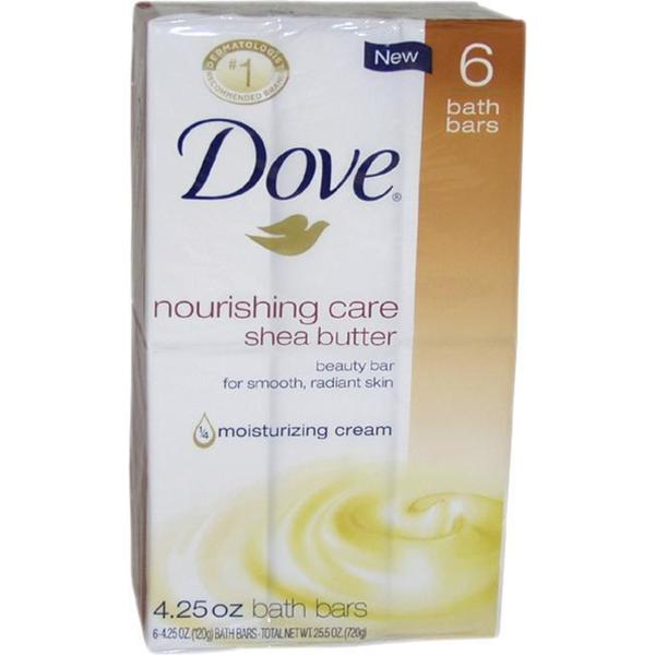 Dove 4.25-ounce Nourishing Care Shea Butter Moisturizing Cream Beauty Bar Soap (Pack of 6)