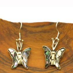 Silver Mother of Pearl Butterfly Earrings (Mexico)