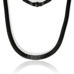 La Preciosa Black-plated Stainless Steel Hollow Mesh Necklace