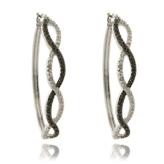 Finesque Silverplated Diamond Accent Infinity Design Hoop Earrings