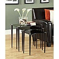 Black Tempered Glass and Cappuccino 3-piece Nesting Tables