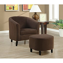 Chocolate Brown Accent Chair and Ottoman