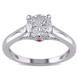 Miadora Signature Collection L'Amour Enrose 14k Gold 1ct TDW Diamond and Pink Sapphire Ring