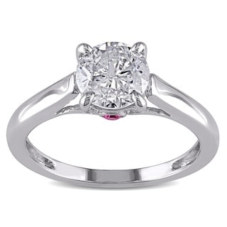 L'Amour Enrose 14k Gold 1ct TDW Diamond and Pink Sapphire Ring
