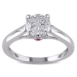 Miadora 14k White Gold 1ct TDW Diamond and Pink Sapphire Solitaire Engagement Ring (G-H, I2)