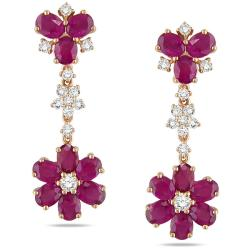 Miadora Signature Collection 14k Pink Gold Pink Sapphire and 1ct TDW Diamond Earrings (G-H, SI1)