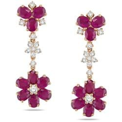 Miadora 14k Pink Gold Pink Sapphire and 1ct TDW Diamond Earrings (G-H, SI1)