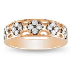Miadora 18k Pink Gold 2/5ct TDW Round Diamond Band (G-H, SI1-SI2)
