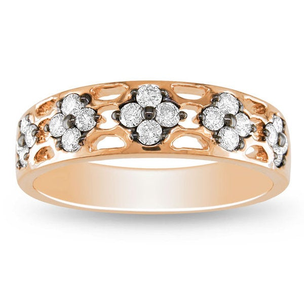Miadora Signature Collection 18k Pink Gold 2/5ct TDW Round Diamond Band (G-H, SI1-SI2)