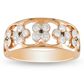 Miadora 18k Pink Gold 4/5ct TDW Black and White Floral Diamond Band (G-H, SI1-SI2)