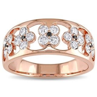 Miadora Signature Collection 18k Rose Gold 4/5ct TDW Black and White Floral Diamond Ring(G-H, SI1-SI2)