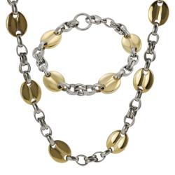 Two-tone Stainless Steel Link Necklace and Bracelet Set