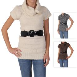 Ci Sono by Adi Juniors Cowl Neck Short-sleeve Belt Sweater Tunic
