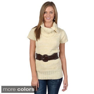 Ci Sono by Adi Juniors Cowl Neck Short-sleeve Belt Sweater Tunic