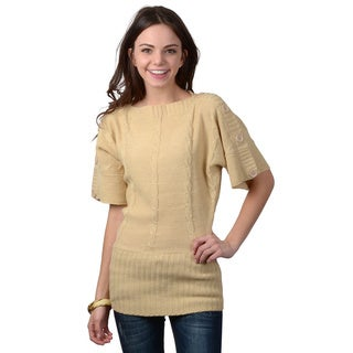 Ci Sono by Adi Juniors Short-sleeve Button Accent Sweater