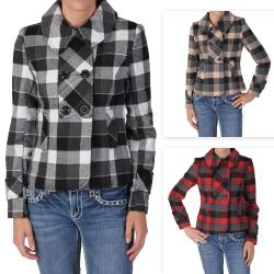 Ci Sono by Journee Juniors Checkered Long-sleeve Coat