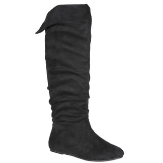 Story Women's Flat Faux Suede Knee-high Boots