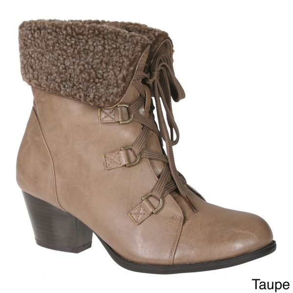 Story Lace Up Ankle Bootie With Faux Fur Flip Over