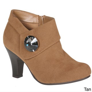 Story Women's Suede Ankle Rhinestone Embellished Bootie