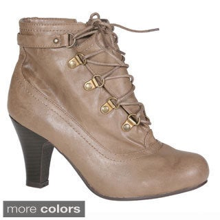 Story Women's Round Toe Laced Up Ankle Bootie
