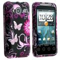 Pink Butterfly Snap-on Rubber Coated Case for HTC EVO Shift 4G