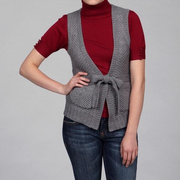 Escio Women's Grey Tie-front Vest FINAL SALE