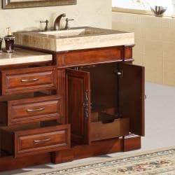 Silkroad Exclusive Travertine Top 51-inch Single Sink Vanity Cabinet