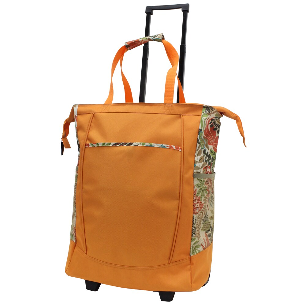 G Pacific 20-inch Leak-proof Orange with Floral Trim Rolling Shopper Tote