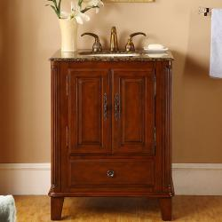 Silkroad Exclusive Granite Top 28-inch Single Sink Vanity Cabinet