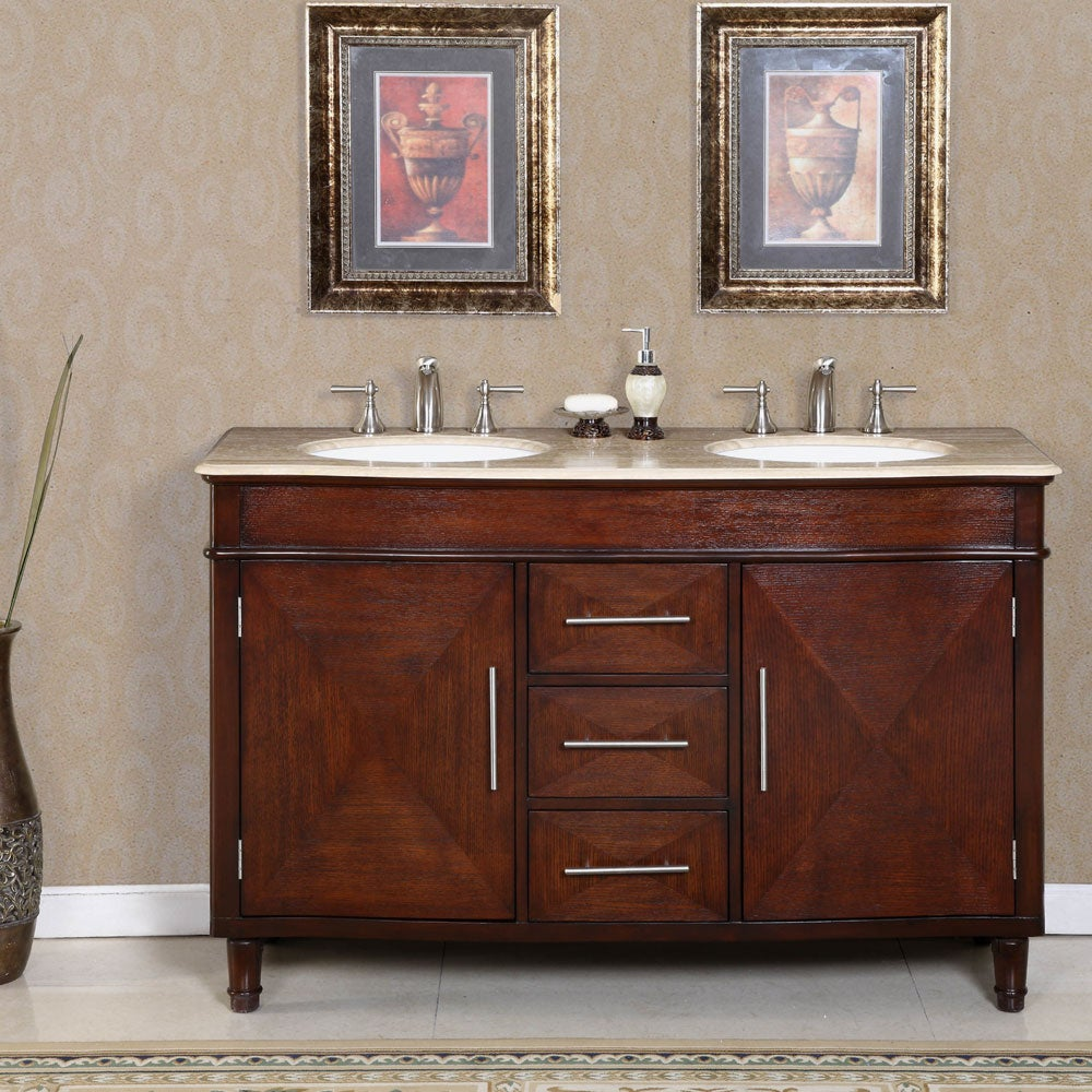 silkroad exclusive travertine top 55 inch sink vanity cabinet 13858774 overstock