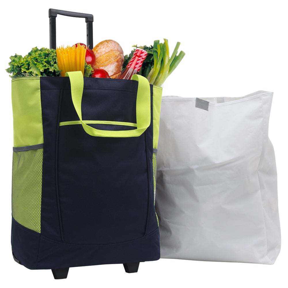 G Pacific by Traveler's Choice 20-inch Leak-proof Navy/ Lime Green Rolling Shopper Tote