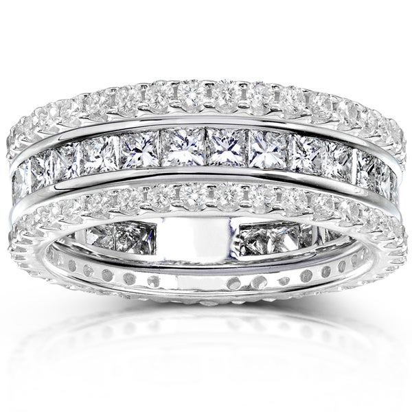 Annello 14k Gold 3ct TDW Diamond 3-piece Stackable Eternity Ring Set (H-I, I1-I2)