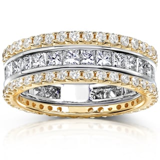 Annello 14k Gold 3ct TDW Stackable Eternity Band Set (H-I, I1-I2)
