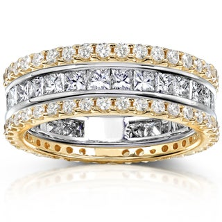 Annello 14k Gold 3ct TDW 3-Piece Stackable Eternity Ring Set (H-I, I1-I2)