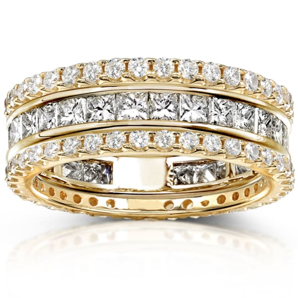 Annello 14k Gold 3ct TDW 3-Piece Stackable Diamond Eternity Ring Set (H-I, I1-I2)