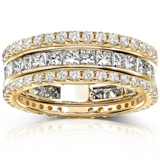 Annello 14k Gold 3ct TDW Stackable Diamond Eternity Band Set (H-I, I1-I2)