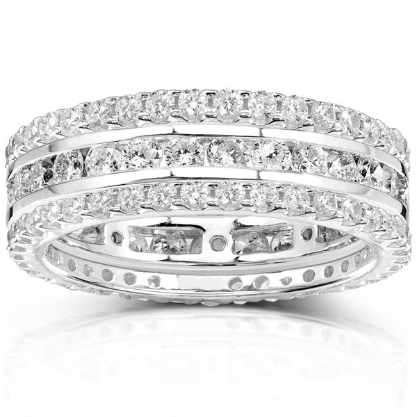 Annello 14k Gold 2ct TDW Stackable Diamond Eternity Ring Set (H-I, I1-I2)