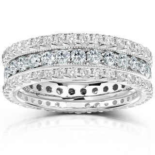 Annello 14k Gold 2ct TDW Diamond 3-piece Stackable Eternity Ring Set (H-I, I1-I2)