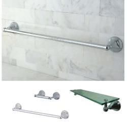 Chrome 3-Piece Glass Shelf and Towel Bar Bathroom Accessory Set