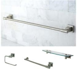 Satin Nickel Three-Piece Glass Shelf and Towel Bar Bathroom Accessory Set