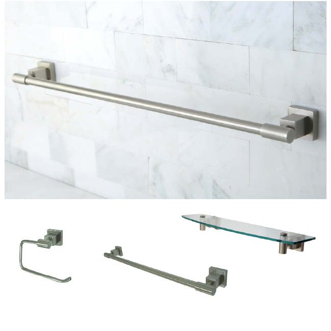Satin Nickel Three Piece Glass Shelf And Towel Bar Bathroom Accessory Set 1