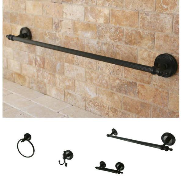 Oil-Rubbed Bronze Brass Four-Piece Bathroom Accessory Set